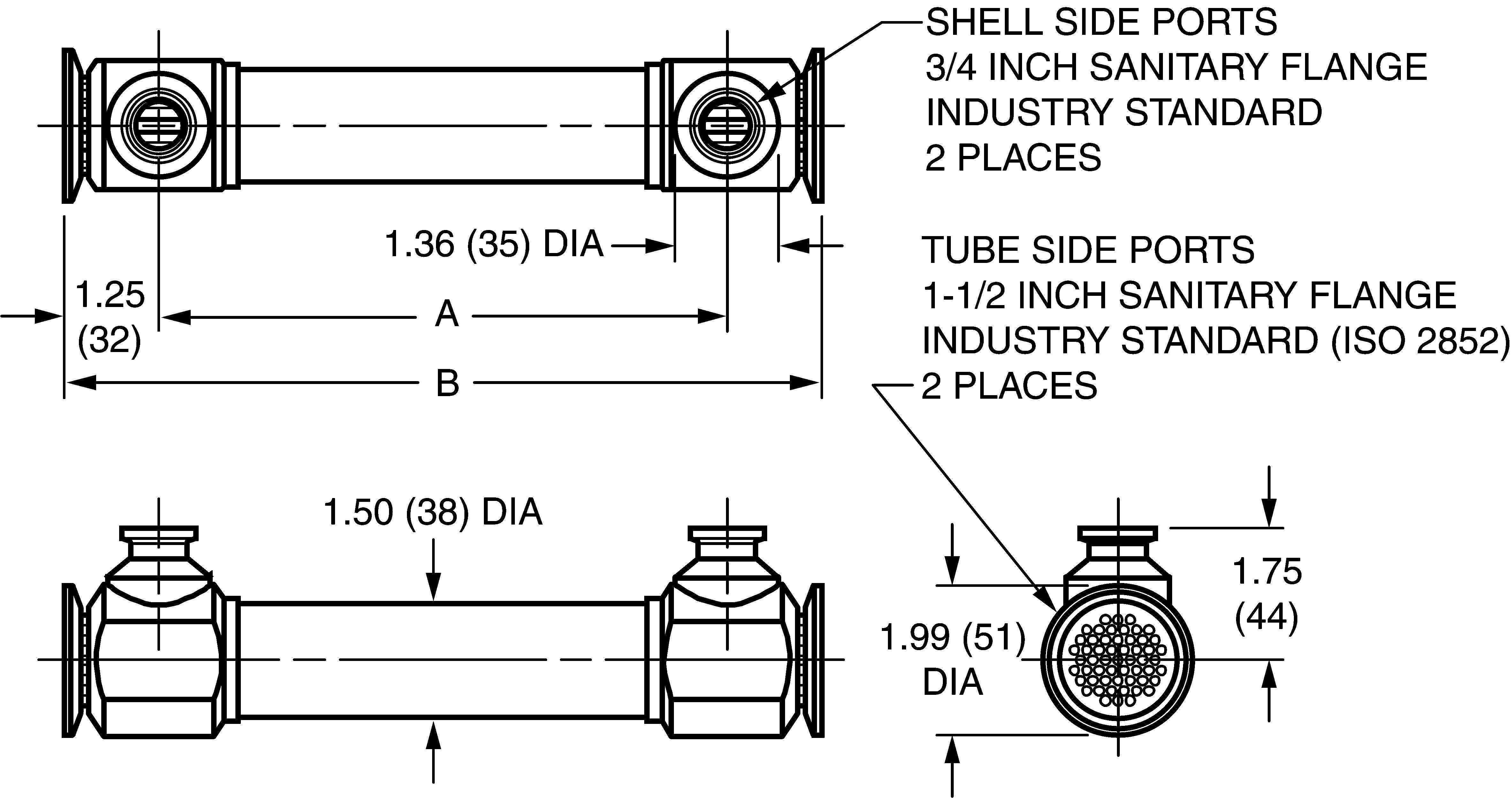 dimensional drawing for 35 series double tubesheet sanitary shell & tube  heat exchangers (01085)
